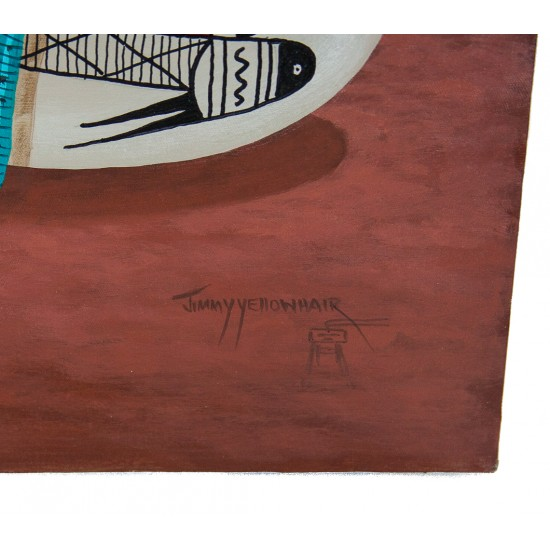 $350 Navajo Certified Authentic Painted by Acrylic Basket Native American Painting  10802-3 Painting NB160310221039 10802-3 (by LomaSiiva)