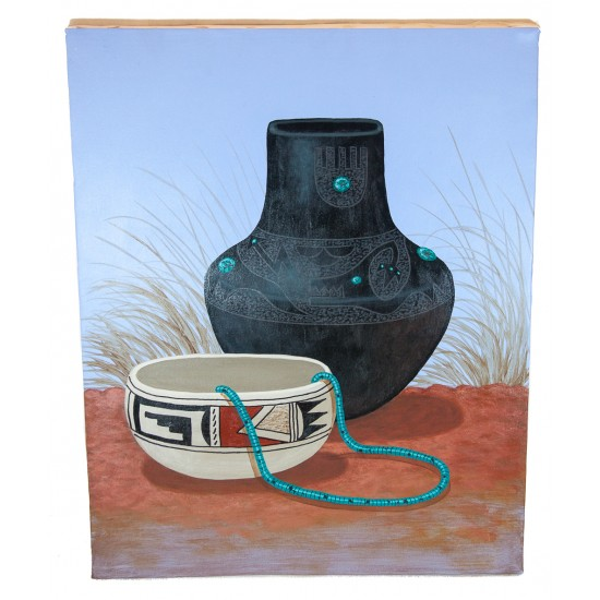 $350 Navajo Pottery Painted by Certified Authentic Acrylic Native American Painting  10802-1 Painting NB160310231003 10802-1 (by LomaSiiva)