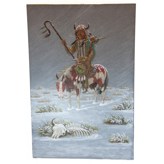 $490 Navajo Indian Winter Painted by Certified Authentic Acrylic Native American Painting  10783 Painting NB160311002223 10783 (by LomaSiiva)