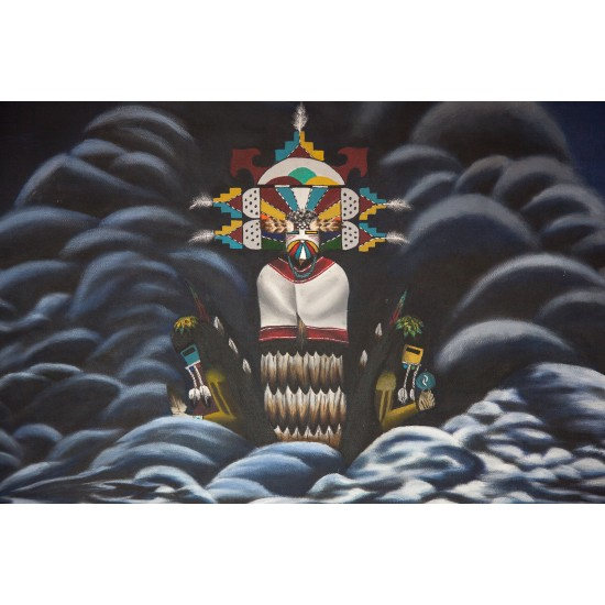 Hopi Dancing Prayer Edge Water Clan Painted by Certified Authentic Acrylic Native American Painting  10804 Painting NB160311004457 10804 (by LomaSiiva)