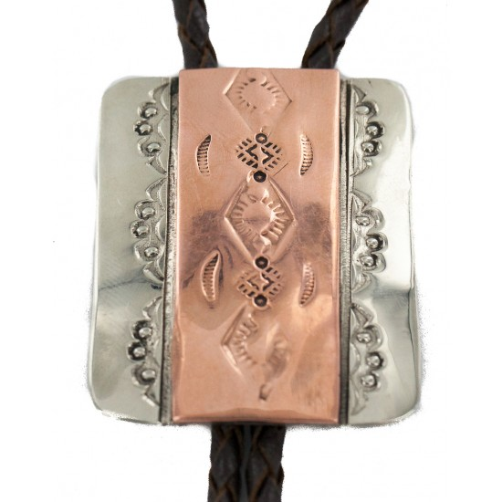 Certified Authentic Handmade Navajo Leather Pure Copper and Nickel Native American Bolo Tie 24489-1 All Products NB160330214626 24489-1 (by LomaSiiva)
