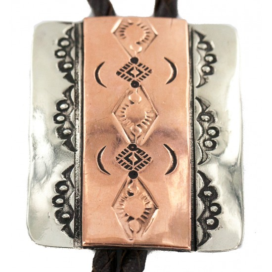 Certified Authentic Handmade Navajo Leather Pure Copper and Nickel Native American Bolo Tie 24489-2 All Products NB160330203427 24489-2 (by LomaSiiva)