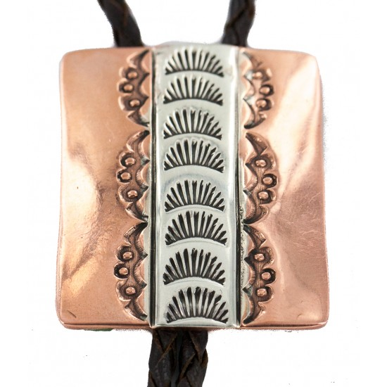 Certified Authentic Handmade Navajo Leather Pure Copper and Nickel Native American Bolo Tie 24489-3 All Products NB160330215139 24489-3 (by LomaSiiva)