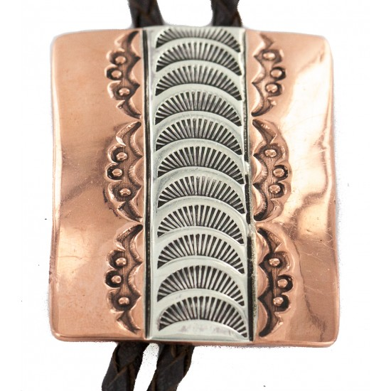 Handmade Certified Authentic Leather Navajo Pure Copper and Nickel Native American Bolo Tie 24489-8 All Products NB160330213357 24489-8 (by LomaSiiva)