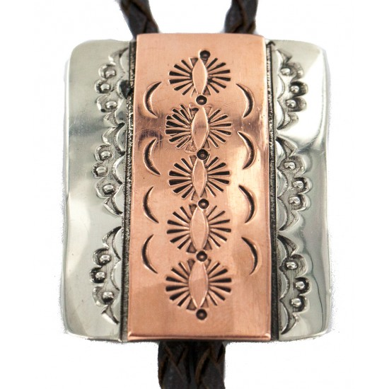 Handmade Certified Authentic Navajo Leather Pure Copper and Nickel Native American Bolo Tie 24489-7 All Products NB160330201803 24489-7 (by LomaSiiva)