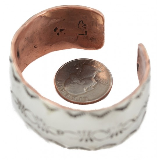 Wide Certified Authentic .925 Sterling Silver Handmade Navajo Native American Pure Copper Bracelet 24493-3 All Products NB160404194137 24493-3 (by LomaSiiva)