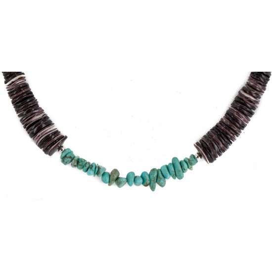 Navajo .925 Sterling Silver Certified Authentic Natural Turquoise Graduated Heishi Native American Necklace 750202-2 All Products NB160406224421 750202-2 (by LomaSiiva)