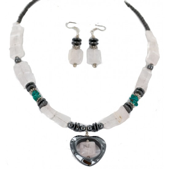 Heart .925 Sterling Silver Hooks Certified Authentic Navajo Natural Turquoise Pink Quartz and Hematite Native American Set 18234-3-18237-2 Clearance NB160406233944 18234-3-18237-2 (by LomaSiiva)