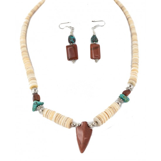 Navajo Arrowhead .925 Sterling Silver Hooks Certified Authentic Natural Turquoise Graduated Heishi Goldstone Native American Set 16006-300-18237-4 Clearance NB160406234602 16006-300-18237-4 (by LomaSiiva)