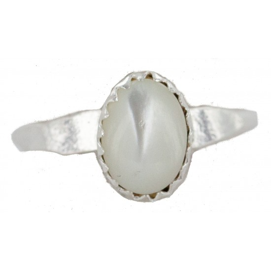 .925 Sterling Silver Navajo Certified Authentic Handmade Mother of Pearl Native American Ring Size 2 3/4 24501-2 All Products NB160409211359 24501-2 (by LomaSiiva)