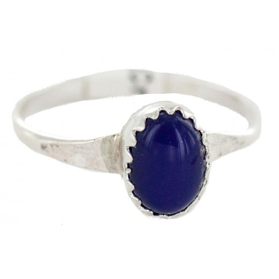 .925 Sterling Silver Navajo Certified Authentic Handmade Natural Lapis Lazuli Native American Ring Size 3 1/2 24502-3 All Products NB160409232912 24502-3 (by LomaSiiva)