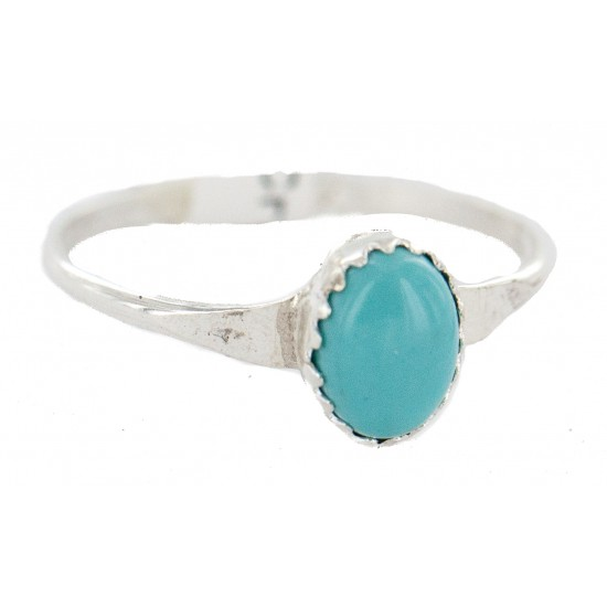 .925 Sterling Silver Navajo Certified Authentic Handmade Natural Turquoise Native American Ring Size 5 1/2 24503-5 All Products NB160409224111 24503-5 (by LomaSiiva)
