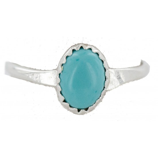 .925 Sterling Silver Navajo Certified Authentic Handmade Natural Turquoise Native American Ring Size 7 1/2 24503-3 All Products NB160409225926 24503-3 (by LomaSiiva)