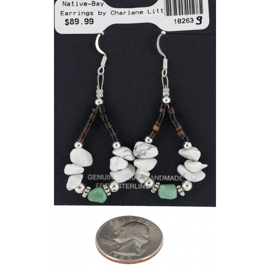 Certified Authentic .925 Sterling Silver Hooks White Howlite Heishi Hoop Native American Dangle Earrings 18263-9 All Products NB160413205402 18263-9 (by LomaSiiva)