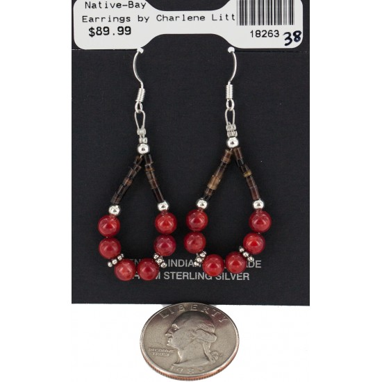 Certified Authentic .925 Sterling Silver Hooks Coral Heishi Hoop Native American Dangle Earrings 18263-38 All Products NB160413220526 18263-38 (by LomaSiiva)