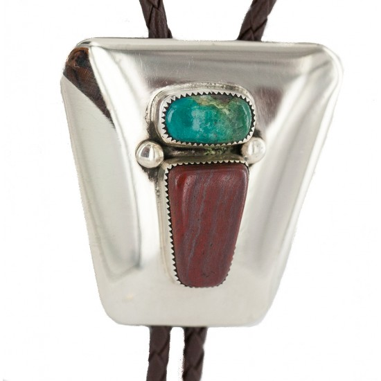 Handmade Certified Authentic Navajo Leather Nickel Natural Turquoise Jasper Native American Bolo Tie 24509-2 All Products NB160423001156 24509-2 (by LomaSiiva)