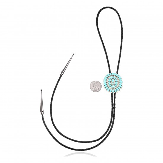 Handmade Certified Authentic Navajo .925 Sterling Silver Native American Natural Turquoise Bolo Tie 34111