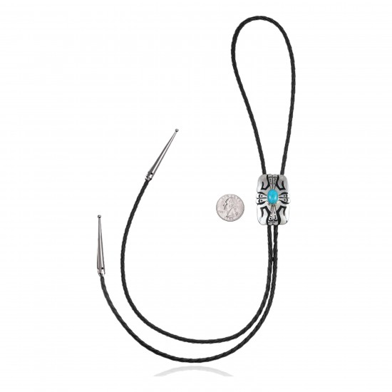 Sun Feather.925 Sterling Silver Certified Authentic Handmade Navajo Native American Natural Turquoise Bolo Tie 34112