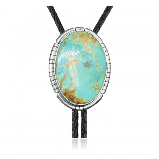 Handmade Certified Authentic Navajo .925 Sterling Silver Native American Natural Turquoise Bolo Tie 34121