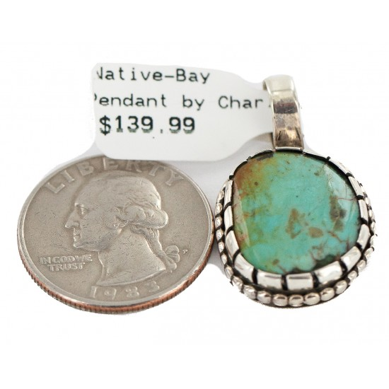 Handmade Certified Authentic Navajo .925 Sterling Silver Natural Turquoise Native American Pendant 13168 All Products NB160428214109 13168 (by LomaSiiva)