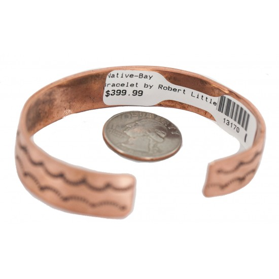Certified Authentic Feather .925 Sterling Silver Handmade Navajo Native American Pure Copper Bracelet 13170-1 All Products NB160428223949 13170-1 (by LomaSiiva)