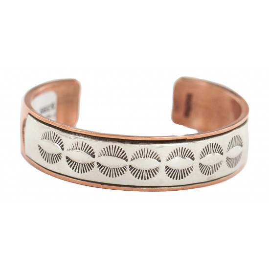 Certified Authentic .925 Sterling Silver Handmade Navajo Native American Pure Copper Bracelet 13170-2 All Products NB160428215825 13170-2 (by LomaSiiva)