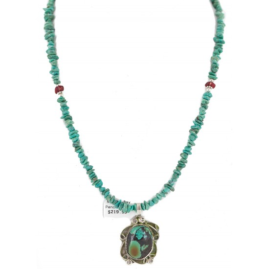 .925 Sterling Silver Certified Authentic Navajo Natural Mountain Turquoise Coral Native American Necklace 18281-2-1601-10 All Products NB160430210944 18281-2-1601-10 (by LomaSiiva)