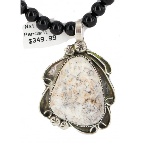.925 Sterling Silver Certified Authentic Navajo Natural White Buffalo Black Onyx Native American Necklace and Pendant 18279-2-15786 All Products NB160430211936 18279-2-15786 (by LomaSiiva)