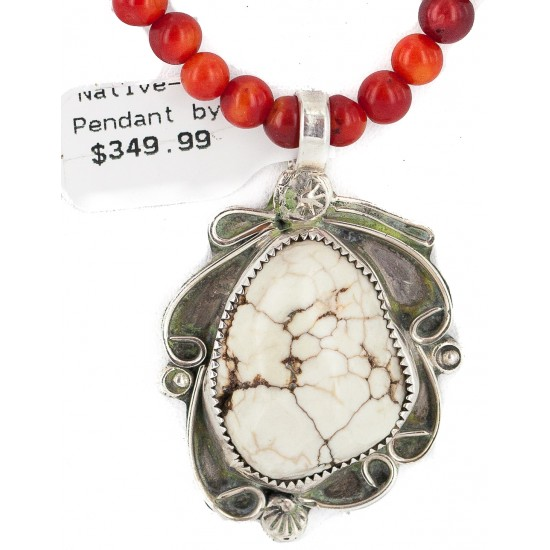 .925 Sterling Silver Certified Authentic Navajo Natural White Buffalo Coral Native American Necklace & Pendant 18279-4-95001 All Products NB160430214045 18279-4-95001 (by LomaSiiva)