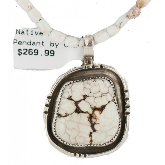 .925 Sterling Silver Certified Authentic Navajo Natural White Buffalo Native American Necklace 18280-3-15975-8 All Products NB160430204226 18280-3-15975-8 (by LomaSiiva)