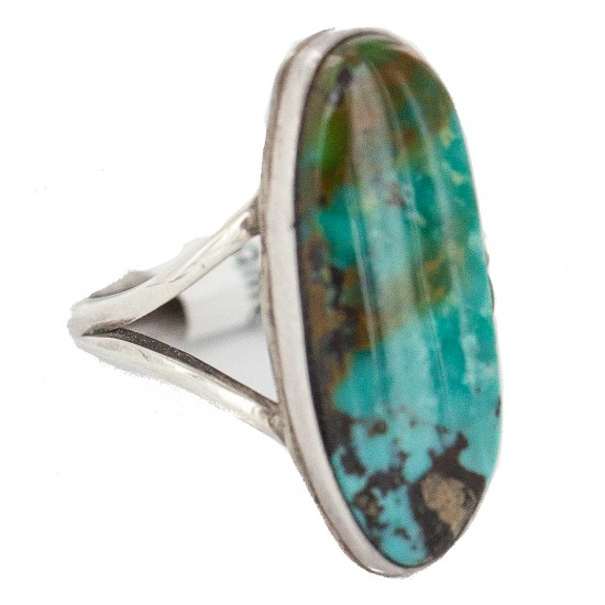 Handmade Navajo Certified Authentic .925 Sterling Silver Signed Natural Turquoise Native American Ring 16827-100 All Products NB160430231137 16827-100 (by LomaSiiva)