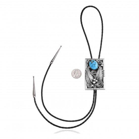 Feather .925 Sterling Silver Certified Authentic Handmade Navajo Native American Natural Turquoise Bolo Tie 34168