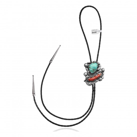 Handmade Certified Authentic Navajo .925 Sterling Silver Native American Natural Turquoise Coral Bolo Tie 34170