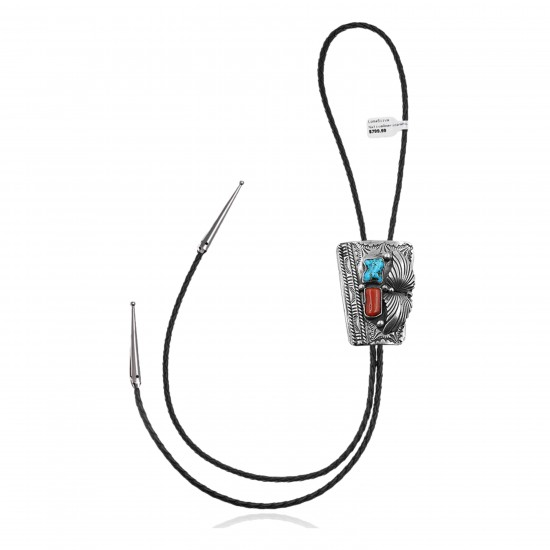 Feather .925 Sterling Silver Certified Authentic Handmade Navajo Native American Natural Turquoise Coral Bolo Tie 34173