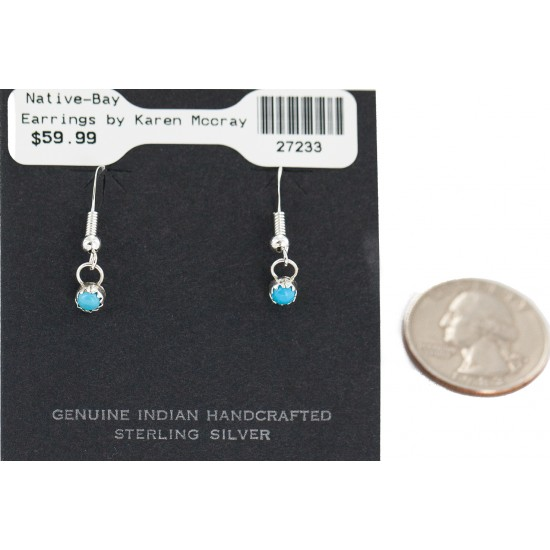Certified Authentic Navajo .925 Sterling Silver Natural Turquoise Native American Dangle Earrings 27233 All Products NB160506175856 27233 (by LomaSiiva)