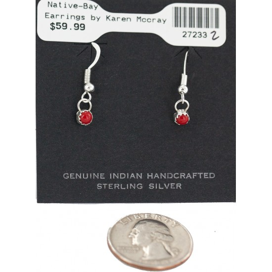 Certified Authentic Navajo .925 Sterling Silver Coral Native American Dangle Earrings 27233-2 All Products NB160506182035 27233-2 (by LomaSiiva)
