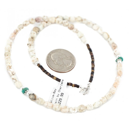 .925 Sterling Silver Certified Authentic Navajo White Howlite Native American Necklace 18288 Clearance NB160506205638 18288 (by LomaSiiva)