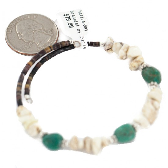 Navajo Certified Authentic White Howlite Heishi Native American Adjustable Wrap Bracelet 13172-3 All Products NB160507205055 13172-3 (by LomaSiiva)