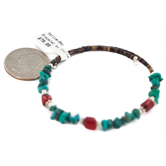 Navajo Certified Authentic Natural Turquoise Heishi Coral Native American Adjustable Wrap Bracelet 13172-14 All Products NB160507214658 13172-14 (by LomaSiiva)