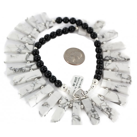 Certified Authentic Nickel Navajo Natural Black Onyx White Howlite Native American Necklace 18264-6 All Products NB160507222431 18264-6 (by LomaSiiva)