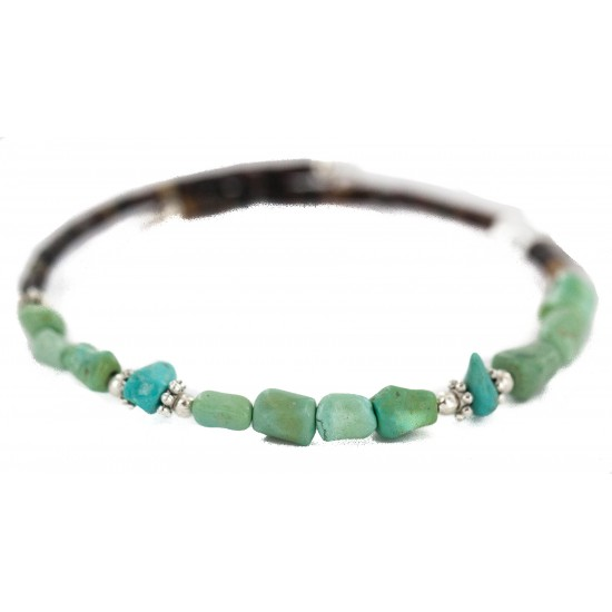 Navajo Certified Authentic Natural Turquoise Heishi Native American Adjustable Wrap Bracelet 13172-1 All Products NB160507210054 13172-1 (by LomaSiiva)