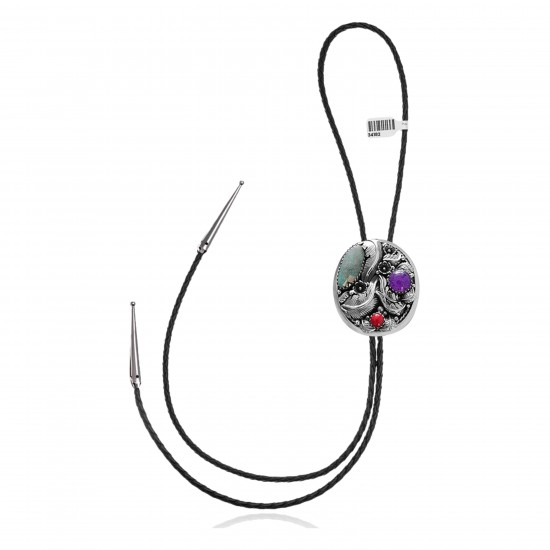 Feather .925 Sterling Silver Certified Authentic Handmade Navajo Native American Natural Turquoise Coral Bolo Tie 34182