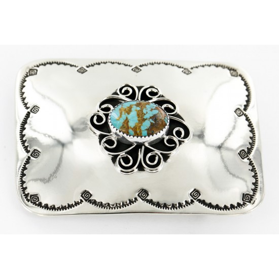 Certified Authentic Flower Navajo Nickel Natural Turquoise Native American Buckle 1204-2 All Products 391265105813 1204-2 (by LomaSiiva)