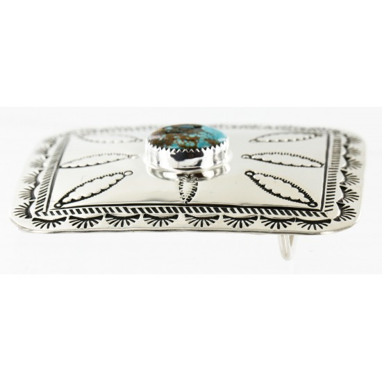 Certified Authentic Handmade Navajo Nickel Natural Turquoise Native American Buckle 1204-5 All Products 371442854058 1204-5 (by LomaSiiva)