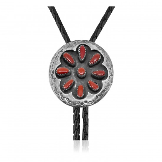 Handmade Certified Authentic Navajo .925 Sterling Silver Native American Coral Bolo Tie 34183