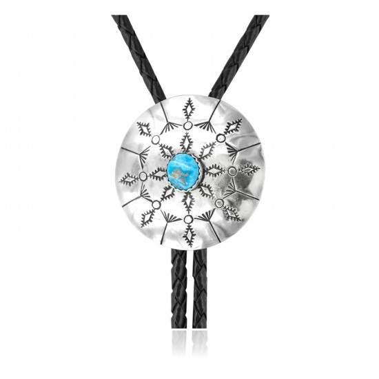 Handmade Certified Authentic Navajo .925 Sterling Silver Native American Natural Turquoise Bolo Tie 34187
