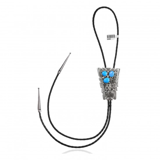 Handmade Certified Authentic Navajo .925 Sterling Silver Native American Natural Turquoise Bolo Tie 34188