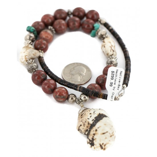 .925 Sterling Silver Certified Authentic Navajo White Howlite Jasper Native American Necklace 750227-2 All Products NB160514204824 750227-2 (by LomaSiiva)