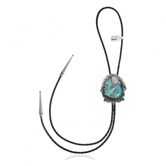 Feather .925 Sterling Silver Certified Authentic Handmade Navajo Native American Natural Turquoise Bolo Tie 34192