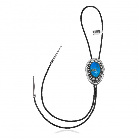 Handmade Certified Authentic Navajo .925 Sterling Silver Native American Natural Turquoise Bolo Tie 34194